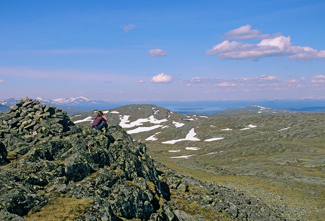 Kvinna Spanar Ut Från Ottfjällets Topp En Tidig Sommarmorgon. En Fjällupplevelse I Världsklass I Södra Årefjällen.